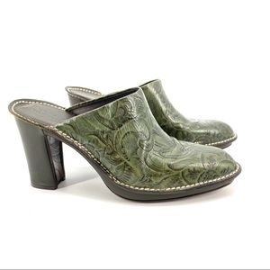 Donald J. Pliner Green Tooled Leather Heeled Mules